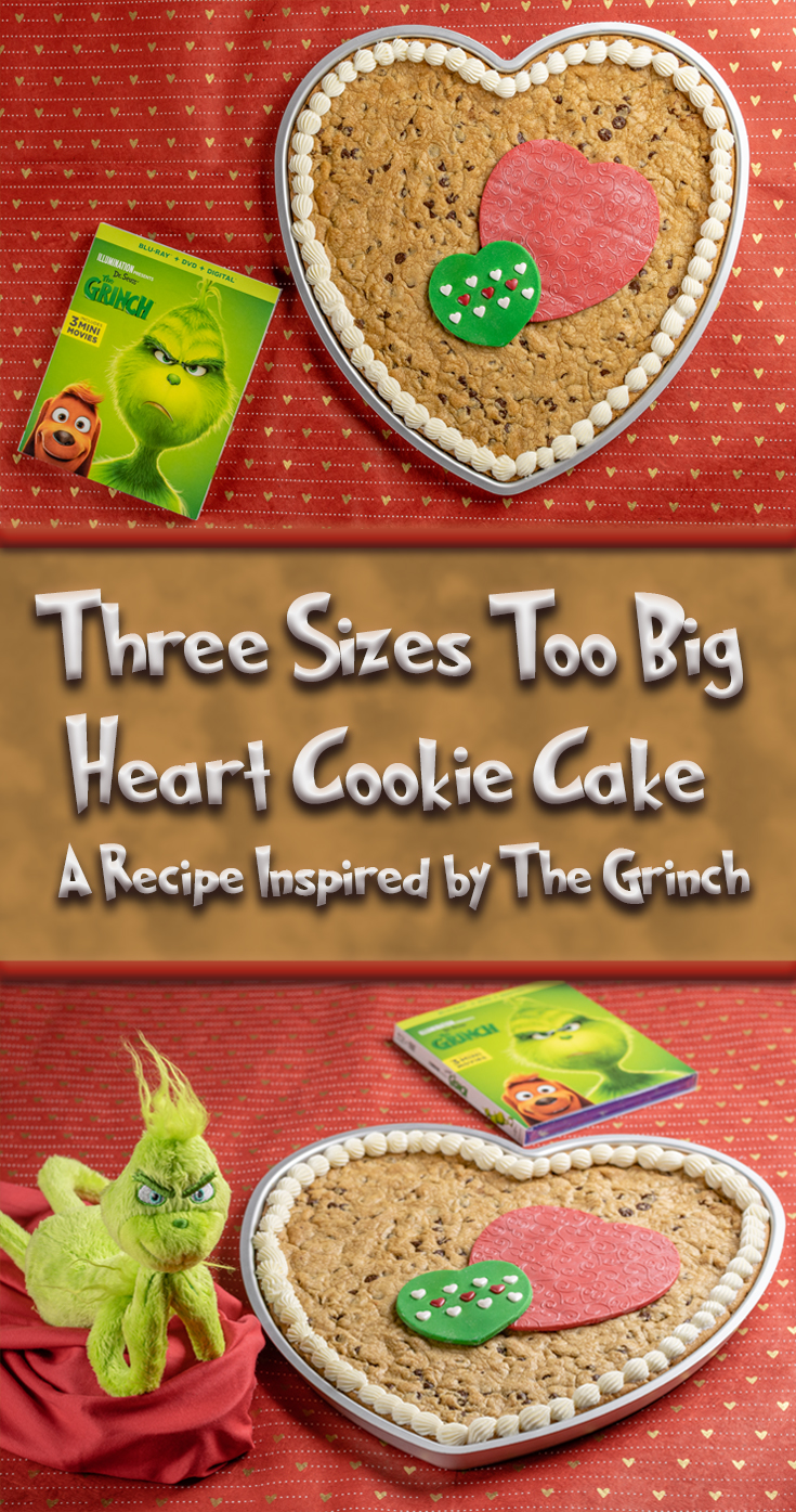 [Sponsored] Who says The Grinch is only for Christmas? The Geeks have created an adorable heart-shaped cookie cake inspired by Illumination and Universal's The Grinch! 2geekswhoeat.com #ValentinesDayRecipes #ChristmasRecipes #CookieCakeRecipes #GeekyFood #GeekyRecipes #TheGrinch #Grinch