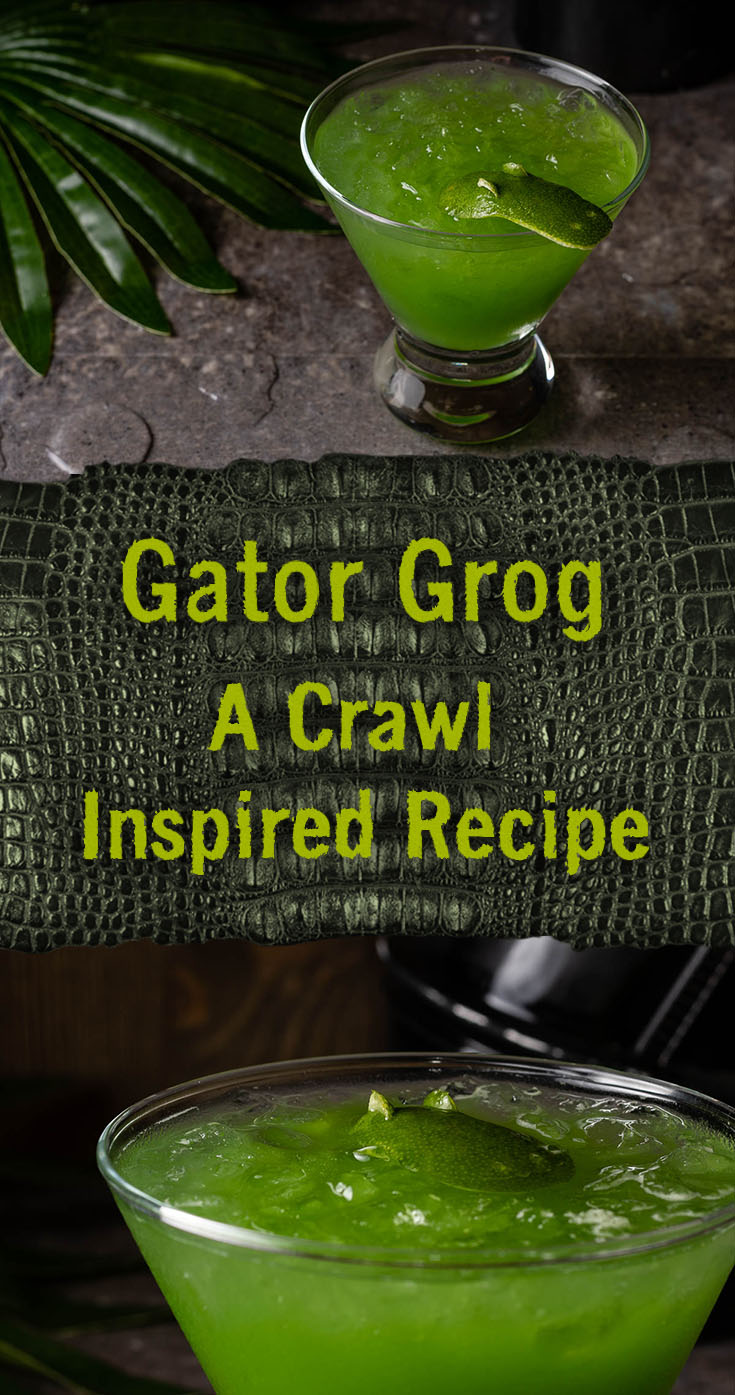Summer Cocktails | Movie Drinks | Rum Cocktails | Inspired by this summer's creature feature Crawl, The Geeks have created a new recipe for Gator Grog, a cocktail with bite! 2geekswhoeat.com