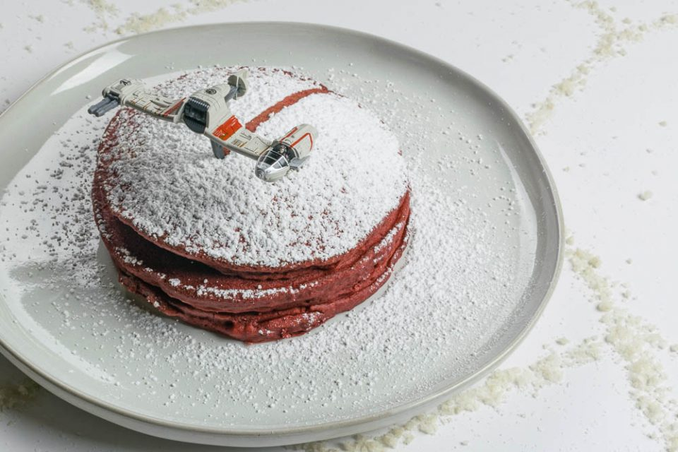 To celebrate the release of Star Wars: The Last Jedi, The Geeks have created a recipe for Crait-Cakes, a fun Star Wars inspired version of red velvet pancakes! [sponsored] 2geekswhoeat.com #GeekyRecipes #StarWarsRecipes #StarWars
