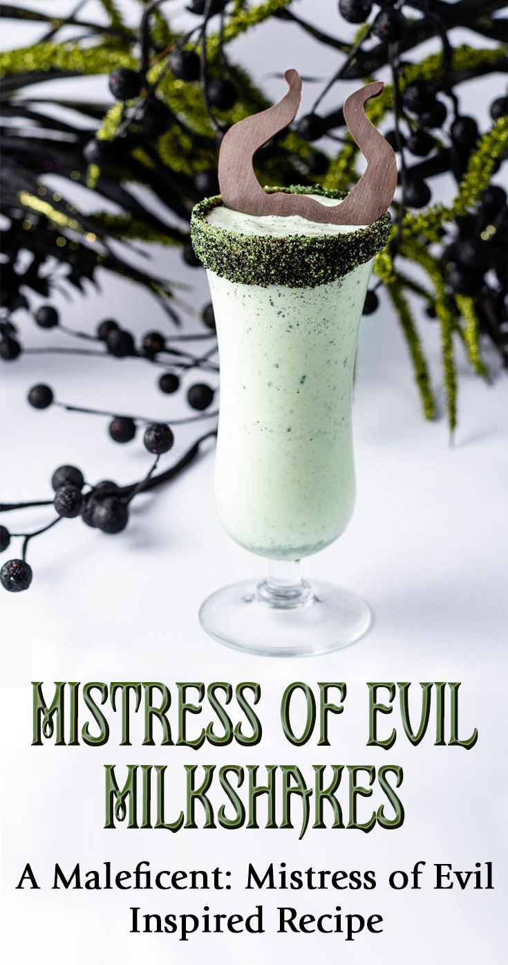 Inspired by the release of Maleficent: Mistress of Evil, The Geeks have created a recipe for a deliciously dark dessert called Mistress of Evil Milkshakes. 2geekswhoeat.com #DisneyRecipes #MaleficentMistressofEvil #DisneyFood #DisneyDesserts #GeekyFood #GeekyRecipes #Disney #Maleficent #Milkshakes