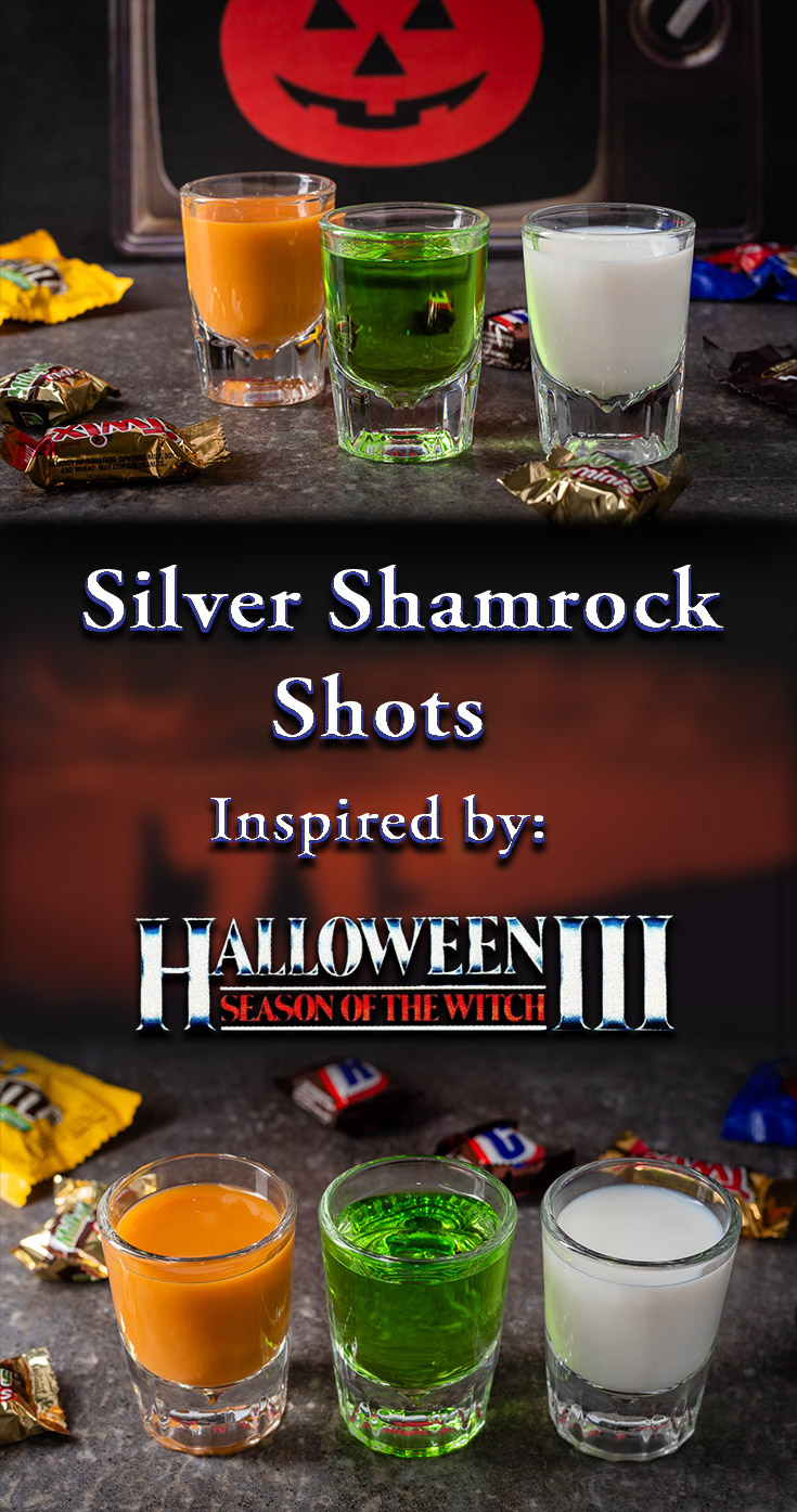 To get ready for Joe Bob's Halloween Hootenanny on Shudder, The Geeks interviewed Darcy the Mail Girl and made a series of shots, Silver Shamrock Shots, inspired by one of her favorite movies! 2geekswhoeat.com #JoeBobBriggs #Shudder #HorrorRecipes #HalloweenRecipes #HorrorMovieRecipes #SilverShamrock #Shots #ShotRecipes