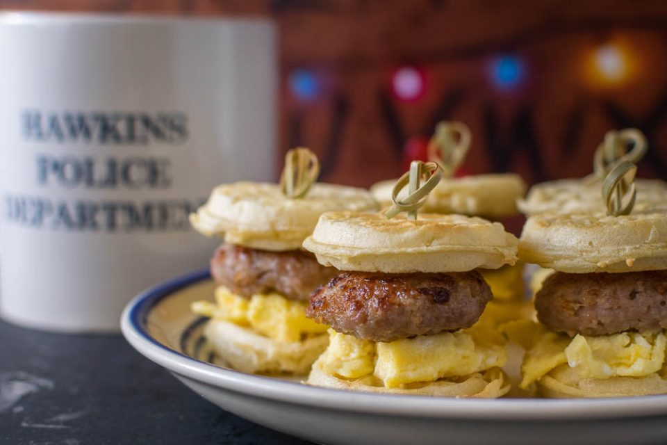 The Geeks have created the recipe for Eleven's Eggo Sliders, perfect for a binge marathon of Stranger Things! 2geekswhoeat.com #Stranger Things #StrangerThingsRecipes #GeekyFood #GeekyRecipes #BreakfastIdeas #BreakfastRecipes