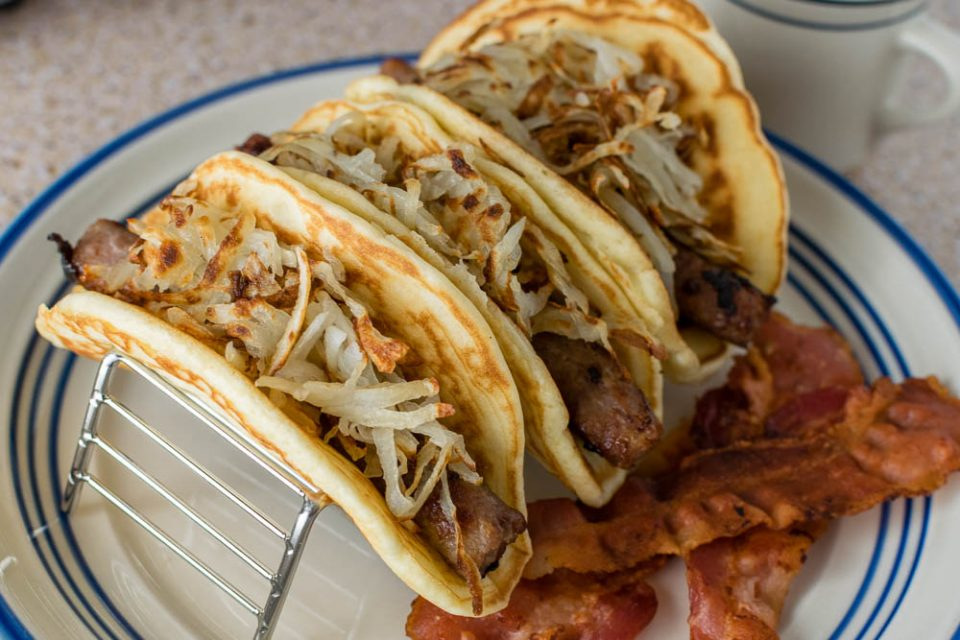 Inspired by the Supernatural episode Mystery Spot, The Geeks have created a recipe for Pig 'N a Poke Tacos! [sponsored] 2geekswhoeat.com #Supernatural #SupernaturalRecipes #TacoRecipes #BreakfastRecipes #TacoTuesday