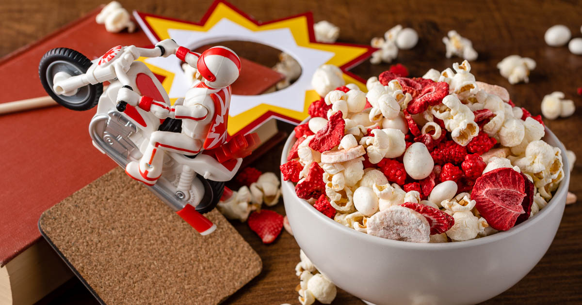[AD] Disney Food | Disney Recipes | Toy Story Recipes | Inspired by Toy Story 4 character Duke Caboom, The Geeks have created a snack mix perfect for road trips or a movie night, Duke Caboom's Daredevil Snack Mix! 2geekswhoeat.com