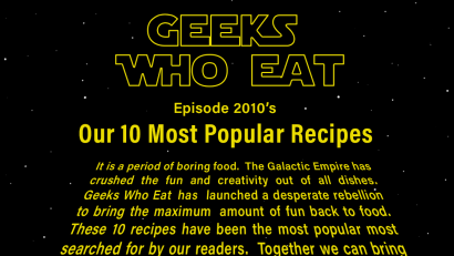 To celebrate the end of 2019 and the end of the decade, The Geeks have created a round up of their top 10 recipes, including both geeky & non-geeky recipes. 2geekswhoeat.com #geekyfood #geekyrecipes #maindishes #snacks #geek #HarryPotter #Marvel #StarWars #Movies #Supernatural