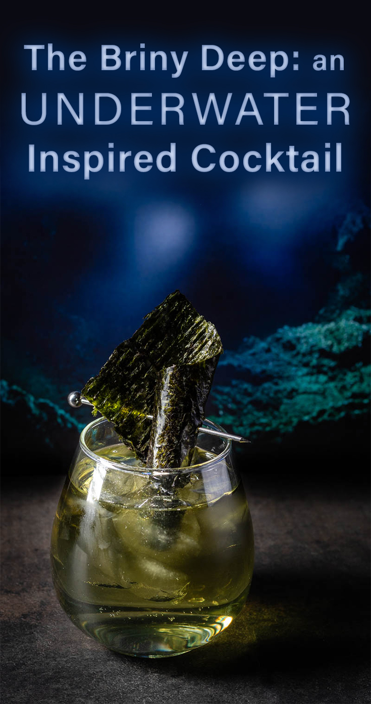 Inspired by the new thriller Underwater from 20th Century Fox, The Geeks have come up with a seaweed infused scotch cocktail called The Briny Deep! 2geekswhoeat.com #cocktails #MovieRecipes #Scotch #Underwater #HomeBar #Seaweed