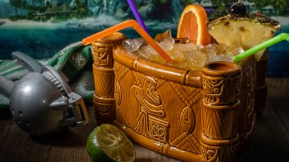 Inspired by Blumhouse's newest release, Fantasy Island, The Geeks have created a recipe for Roarke's Fantasy, a scorpion bowl cocktail perfect for sharing! 2geekswhoeat.com #scorpionbowl #tikidrinks #geekyfood #geekyrecipes #horrorrecipes #partyideas #tikiparty #fantasyisland #rumcocktails #rumrecipes