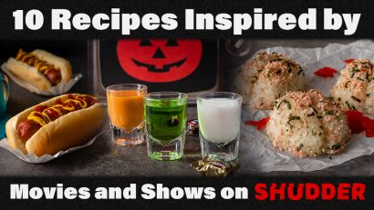 In celebration of Shudder's Halfway to Halloween month long event, The Geeks have rounded up some recipes & shared an interview with head curator Sam Zimmerman! 2geekswhoeat.com #HorrorMovies #HalfwaytoHalloween #HorrorFood #HorrorRecipes #MovieNight #Halloween #Shudder