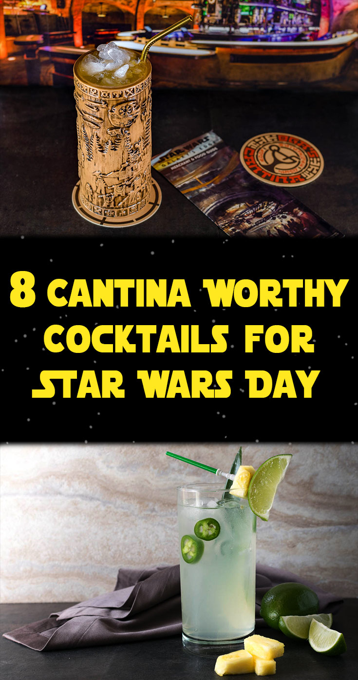 Wish you were at Oga's Cantina? Belly up to your home bar on Star Wars Day with these 8 delicious cantina worthy cocktails, including the Yub Nub and Limesaber, rounded up by The Geeks. 2geekswhoeat.com #StarWars #StarWarsDay #StarWarsRecipes #StarWarsFood #GeekyFood #GeekyRecipes
