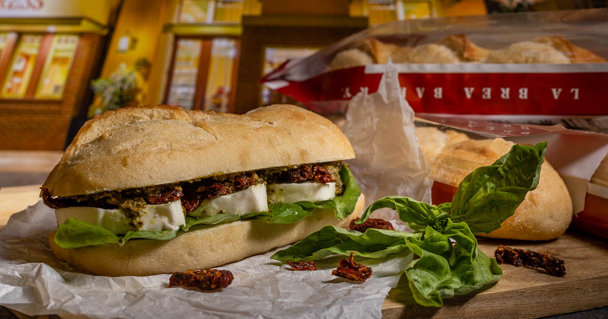 Inspired by one of their favorite sandwiches in Disneyland's Downtown Disney District, The Geeks have recreated La Brea Bakery Express' Fresh Mozzarella Sandwich! 2geekswhoeat.com #DisneyFood #CopycatRecipes #SandwichRecipes #DowntownDisney #Disneyland #GeekyFood #GeekyRecipes #GeekRecipes