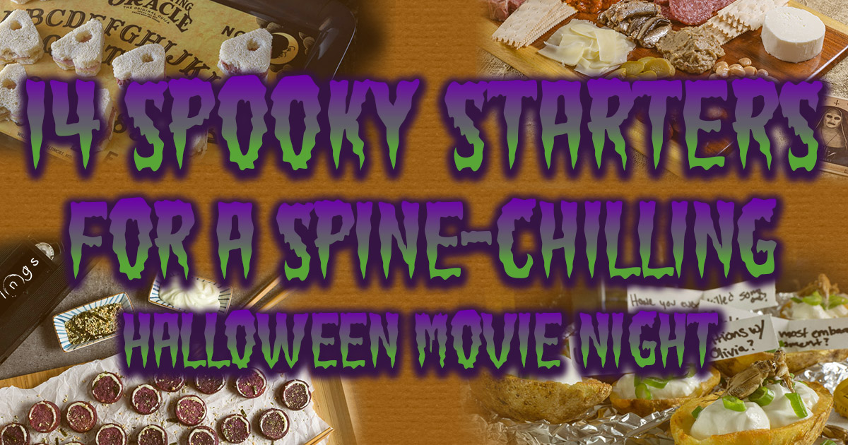 The Geeks are getting ready for Halloween with a series of round-ups! First up, spooky starters perfect for a Halloween Movie Night! 2geekswhoeat.com #HorrorMovieRecipes #HorrorRecipes #HorrorFood #appetizerrecipes #Appetizers #partyideas #partyfood #HalloweenRecipes #HalloweenIdeas