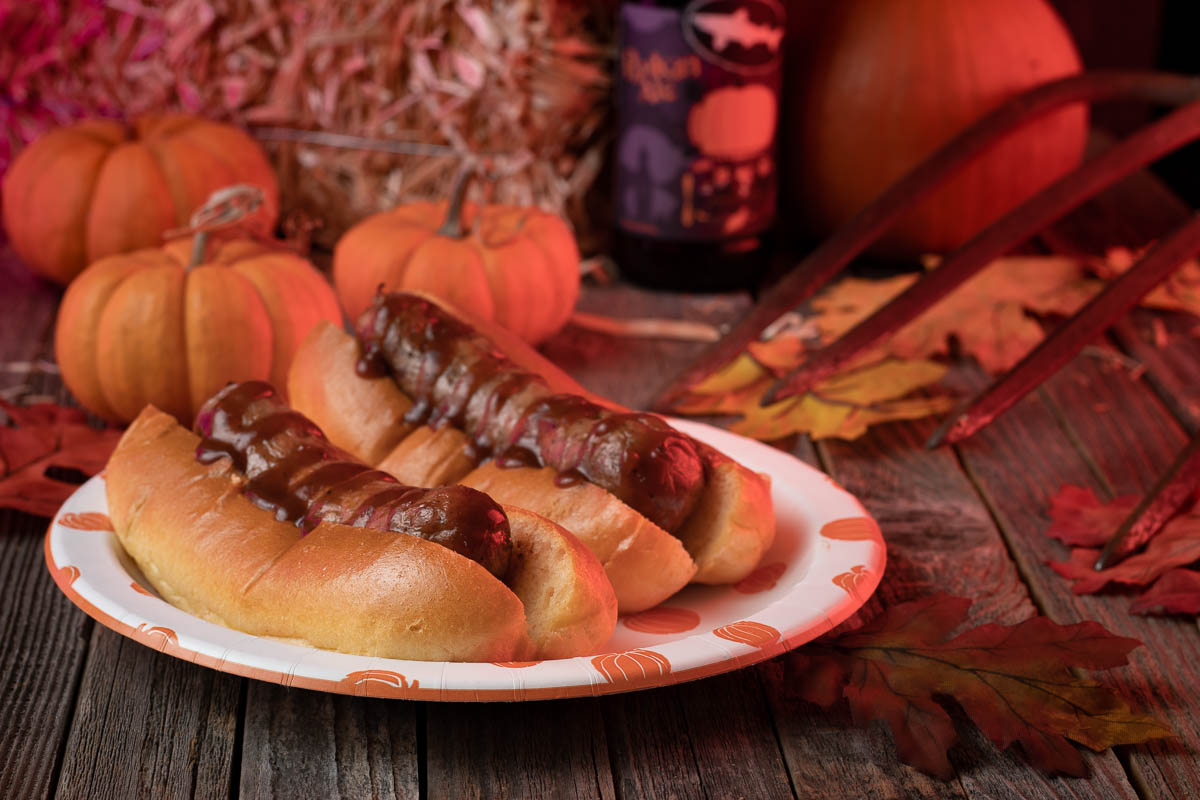 Excited for Joe Bob's Halloween Hideaway Special, The Geeks have created a Pumpkin Beer Brat recipe perfect for making in your own hideaway! 2geekswhoeat.com #HalloweenRecipes #PumpkinBeer #JoeBobBriggs #Shudder #HalloweenHideaway #FallRecipes #GrillingRecipes #HalloweenIdeas