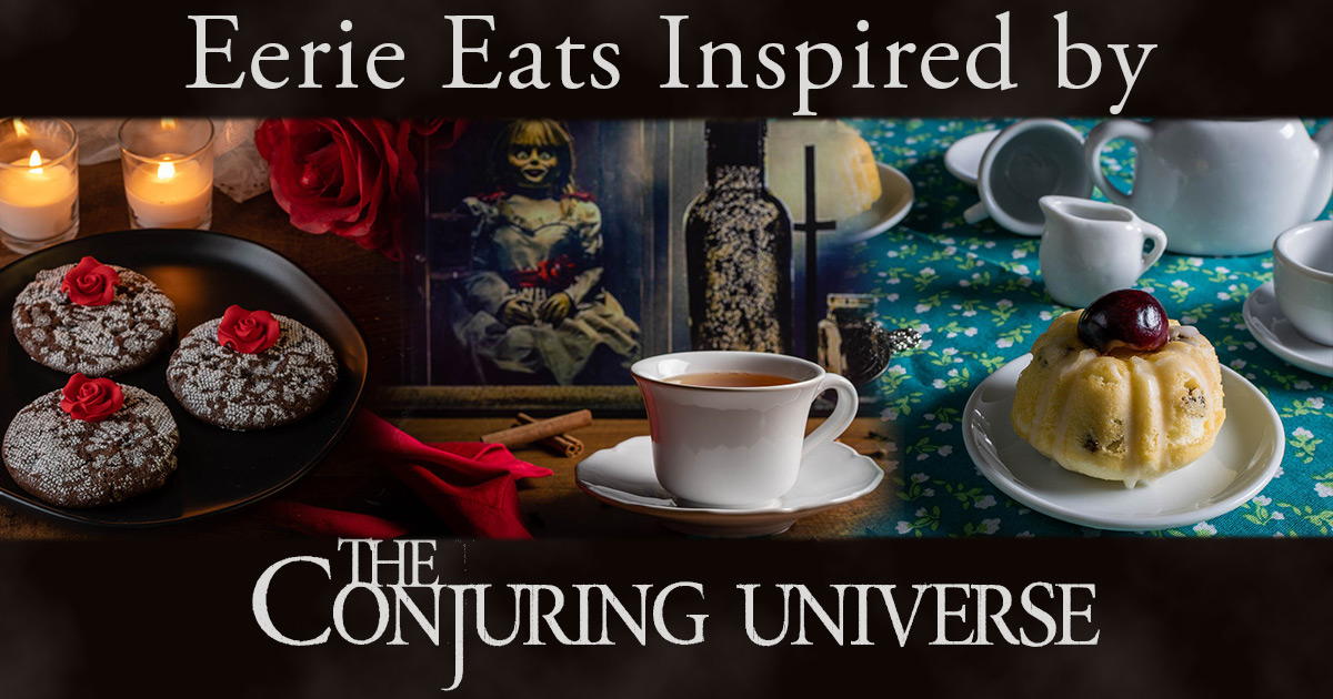 To prep for the release of The Conjuring: The Devil Made Me Do It, The Geeks have rounded up some recipes inspired by the Conjuring Universe! #GeekEats #HorrorMovies #HorrorRecipes #TheConjuring #HalloweenIdeas
