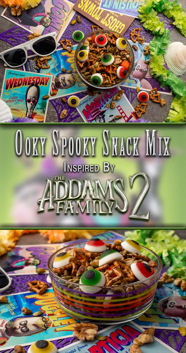The Geeks have put together a new recipe for an Ooky Spooky Snack Mix inspired by The Addams Family 2, which is in theaters now! [AD] 2geekswhoeat.com #TheAddamsFamily2 #HalloweenIdeas #MovieNightRecipes #MovieSnacks #RoadTripSnacks